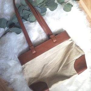Talbots Genuine Leather and Canvas Sholder Bag